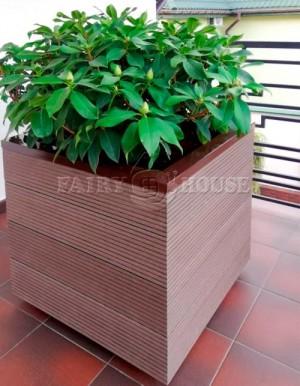 КОНТЕЙНЕР для дерев та рослин Делі з терасної дошки та металу  Д50*Ш50*В44