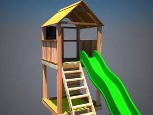 """Дерев'яний ігровий комплекс """"Супергерой"""", будиночок з гіркою"""