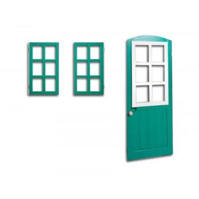 2 вікна та двері, що відкриваються